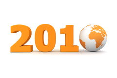 Year 2010 World Orange. Orange date 2010 with 3D globe replacing number 0 royalty free illustration