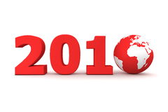Year 2010 World Red. Red date 2010 with 3D globe replacing number 0 royalty free illustration