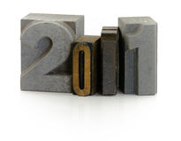 Year 2011. Wooden typescript letters forming number 2011 Royalty Free Stock Image