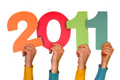 Year 2011. Hands with numbers shows future year 2011 Royalty Free Stock Photography