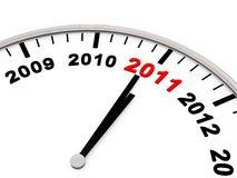 Year 2011. New Year 2011, the Years on a Clock Royalty Free Stock Images