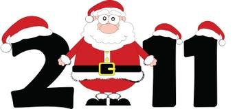 Year 2011. Christmas date with cartoon Santa royalty free illustration