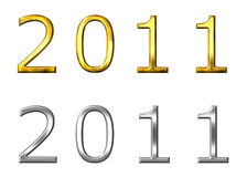 Year 2011 3D Golden and Silver. Isolated in white Royalty Free Stock Photo
