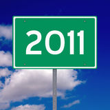 Year 2011 ahead. American road sign indicating that the new year 2011 is ahead Stock Photo