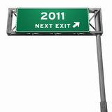 Year 2011 - Freeway Exit Sign. Super high resolution 3D render of freeway sign, next exit... 2011 Royalty Free Stock Images