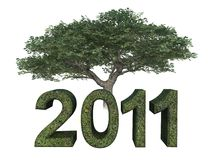 Year 2011 Green Tree. Year 2011 with green tree on white background Stock Photos
