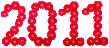 Year 2011. Number laid out by roses Stock Photography