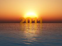 Year 2011 Sunset. Year 2011 with a Sunset over water Royalty Free Stock Photos