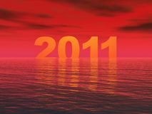 Year 2011 Sunset. Year 2011 with a dramatic red Sunset Stock Photography