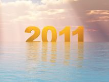 Year 2011 Sunset. Year 2011 with a Sunset in friendly colors Royalty Free Stock Images