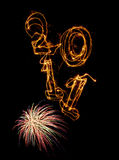 Year 2011 vertically and fireworks Royalty Free Stock Images