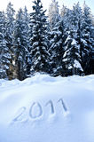 Year 2011 in Winter Landscape. Number 2011 written in an Austrian Winter Landscape Stock Images