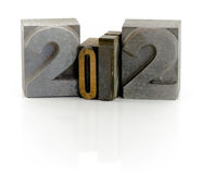 Year 2012. Wooden typescript letters forming number 2012 Royalty Free Stock Images