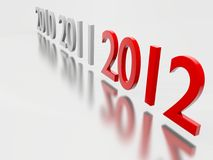 Year 2012. New Year 2012 on reflective background Royalty Free Stock Photography