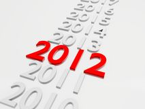 Year 2012. New Year 2012 in followed by the years 2013 up to 2019 Vector Illustration