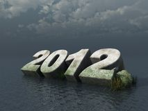 The year 2012. Fallen 2012 monument at the ocean - 3d illustration royalty free illustration