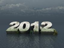 The year 2012. Fallen 2012 monument at the ocean - 3d illustration Vector Illustration