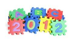 Year 2012. 2012 new year and ABC colorful interlocking foam blocks on white background Royalty Free Stock Photos