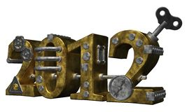 The year 2012. Metal number 2012 on white background Royalty Free Stock Images