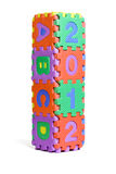 Year 2012. 2012 new year and ABCD colorful interlocking foam blocks on white background Royalty Free Stock Images