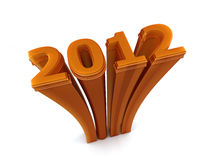 Year 2012. 3D Image Of 2012 On White Background Royalty Free Stock Photography