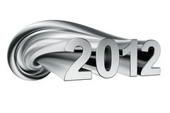 Year 2012. 2012 written in twisted aluminum Stock Image