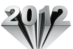 Year 2012. 2012 written in extruded aluminum Royalty Free Stock Image