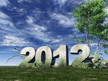 Year 2012. Stone monument 2012 under cloudy blue sky - 3d illustration Royalty Free Stock Image