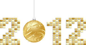 Year 2012. Illustration golden color Stock Images