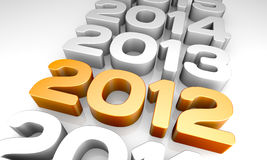 Year 2012. New Year 2012. A 3D rendering concept Royalty Free Stock Photo
