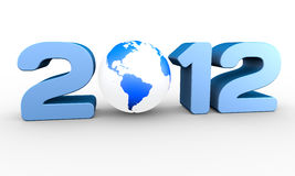 Year 2012. New Year 2012. A 3D rendering concept Royalty Free Stock Image
