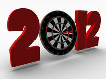 Year 2012. An XXXL Large 3d Render of a simple illustration of the number 2012 in red color and a dart board Royalty Free Stock Photos