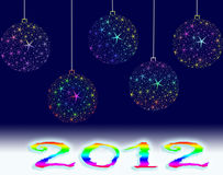 Year 2012. Christmas background with white balls Stock Photography