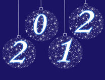 Year 2012. Christmas background with white balls Stock Images