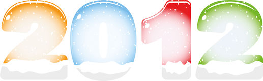 Year 2012. With snow inside Stock Illustration