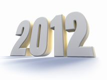 Year 2012. Large white number with backlit, 3d render royalty free illustration