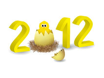 Year 2012 in 3D. With chicken and egg Stock Photos