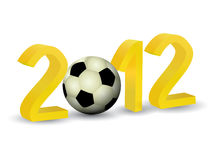 Year 2012 in 3D. With soccer football Stock Photos