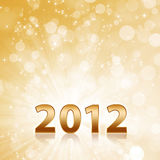 Year 2012 Abstract Gold Sparkling Background Stock Photos