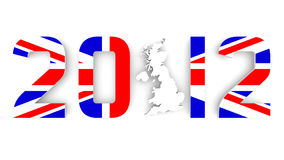 Year 2012 In Britain Flag for Olympic Games. 3D Year 2012 In British Flag with Great Britain map for Olympic Games Royalty Free Stock Image