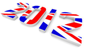Year 2012 In British Flag for Olympic Games. 3D Year 2012 In British Flag for Olympic Games Stock Images