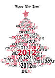 Year 2012 Christmastree. Christmas-tree consisting of the number 2012 Stock Photos
