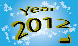 Year 2012 is coming. Write the year 2012 in 3D design. The end of 2011 indicated an apostate digit. Shaded blue background with stars Royalty Free Stock Images