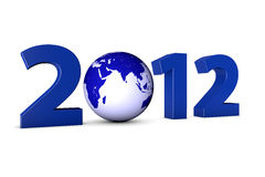 Year 2012 with earth globe. Year 2012 with blue earth globe as a Zero Stock Illustration