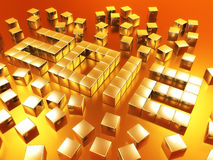 Year 2012 in Gold. The year 2012 made of 3D golden cubes Stock Image