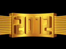 Year 2012 gold label isolated. 3d illustration Stock Photography