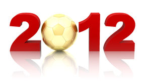 Year 2012 with golden soccer ball. On white background Royalty Free Stock Photography