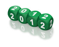 Year 2012 on green blocks. Year 2012 depicted with green dice or cubes in a horizontal line on a white background Royalty Free Stock Image