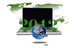 Year 2012 with Laptop and earth Royalty Free Stock Image