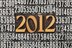 Year 2012 in letterpress type Royalty Free Stock Image